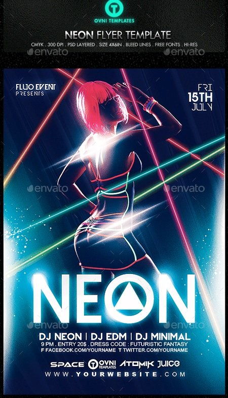 Download GraphicRiver - Neon Laser Fluo Light Sexy Flyer