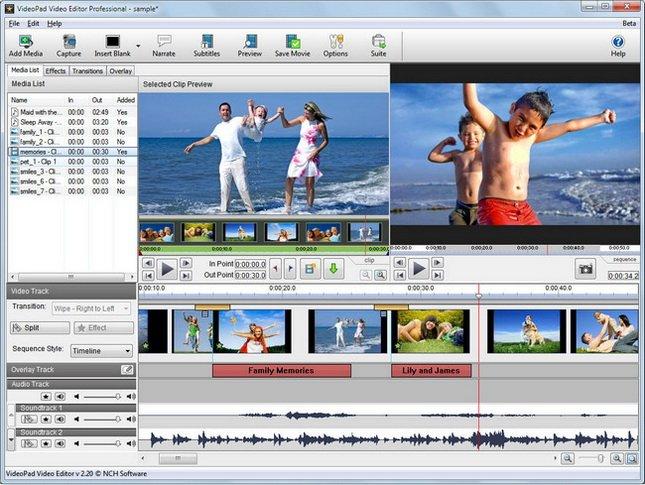 NCH VideoPad Video Editor Professional 5.11 Beta