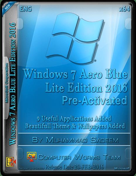Download Windows 7 Aero Blue Lite Edition 2016 (x64) Pre