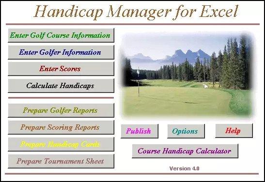Handicap Manager For Excel 2007 / 2010 / 2013 / 2016 v6.01