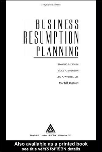 Business Resumption Planning, Second Supplement