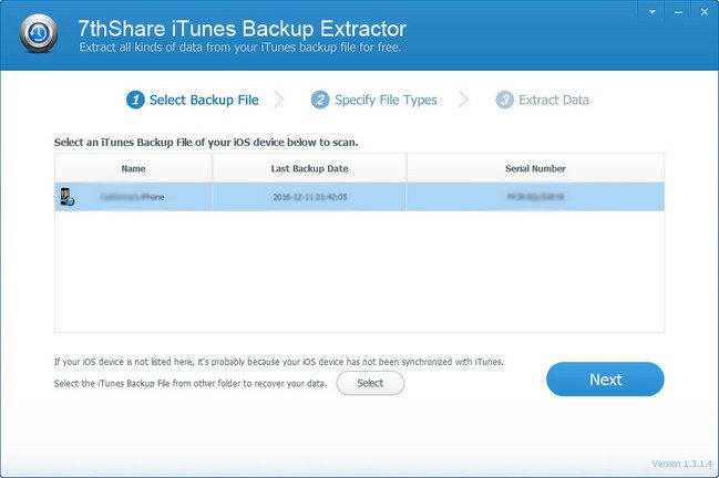 7thShare iTunes Backup Extractor 1.3.1.8