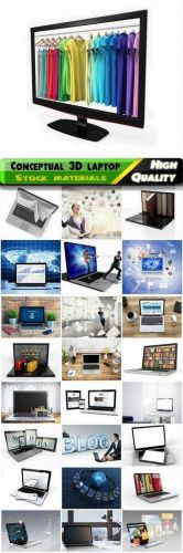 Conceptual business images with 3D laptop or notebook Stock images