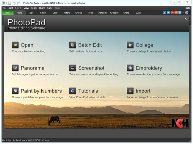 NCH PhotoPad Image Editor Professional 3.07 Beta