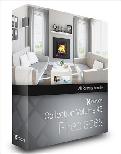 CGAxis Models Volume 45 3D Fireplaces + Render Scene