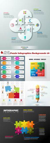 Vectors - Puzzle Infographics Backgrounds 18