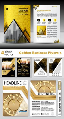 Vectors -- Golden Business Flyers 3