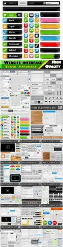 Website interface layout banner bar button icon glossy frame in vector from stock