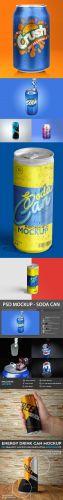 Refreshing Soda Aluminium Can PSD Mockups