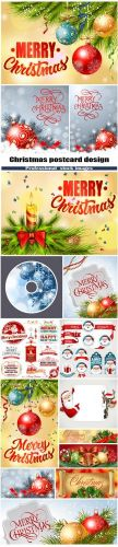 Christmas postcard design and labels