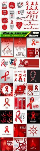 World AIDS Day December 1 holiday cards in vector from stock
