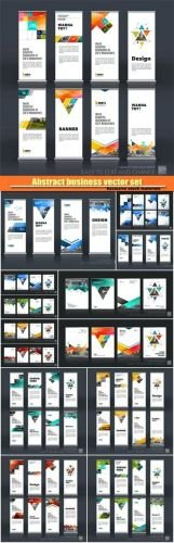 Abstract business vector set of modern roll up banner, brochure template layout, cover design annual report