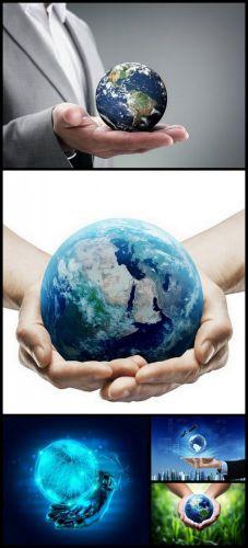 World on Hand - 5 UQH JPEG Stock Images