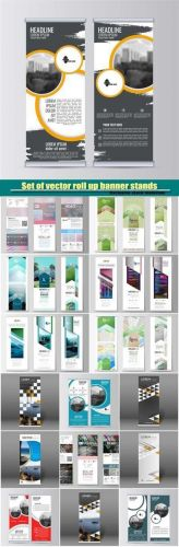 Set of vector roll up banner stands, abstract flyer design background, brochure template