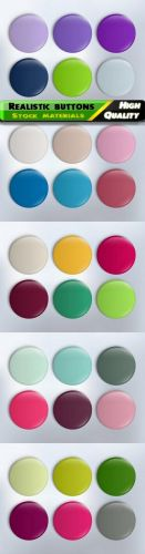 Realistic buttons and colorful glossy badge in vector from stock