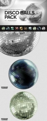 3D Disco Balls Transparent PNG