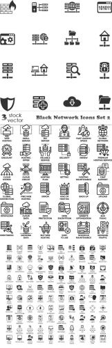Vectors -- Black Network Icons Set 2