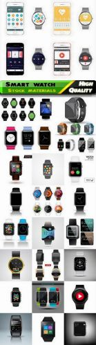 Realistic gadget smart watch illustration in vector form stock
