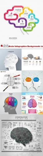 Stock Vectors - Brain Infographics Backgrounds 12