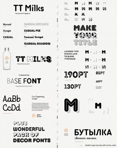 Fonts Family TT Milks - pack 47