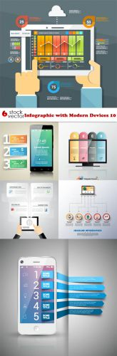 Vectors - Infographic with Modern Devices 10