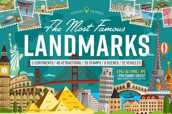 CreativeMarket - Most famous landmarks of the world