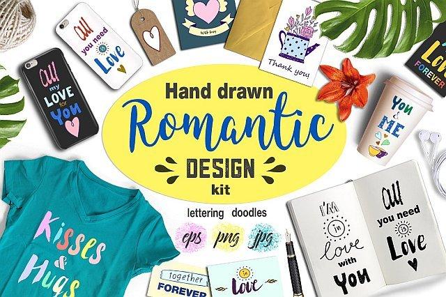 Hand drawn Romantic design kit
