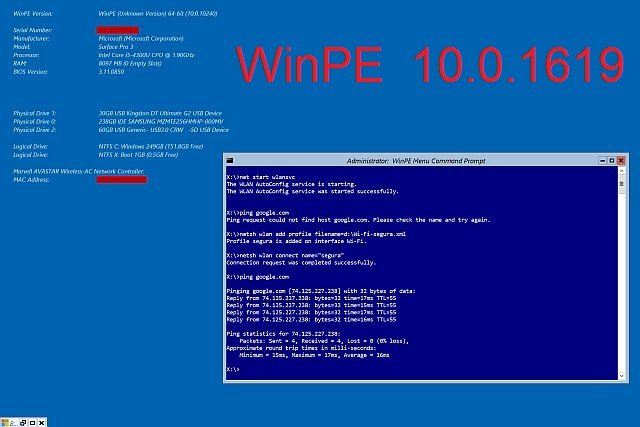 Windows PE (WinPE) 10.0.16190 x86