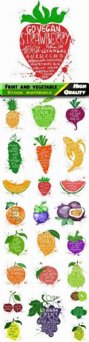 Grunge fruit and vegetable illustration healthy food in vector from stock