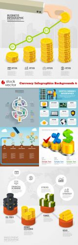 Vectors -- Currency Infographics Backgrounds 6