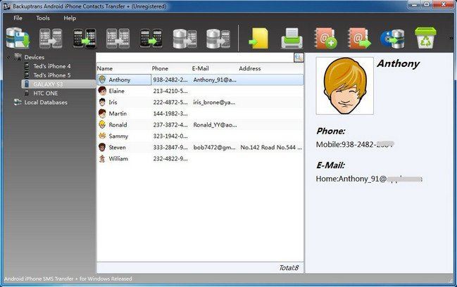 Backuptrans Android iPhone Contacts Transfer Plus 3.1.12