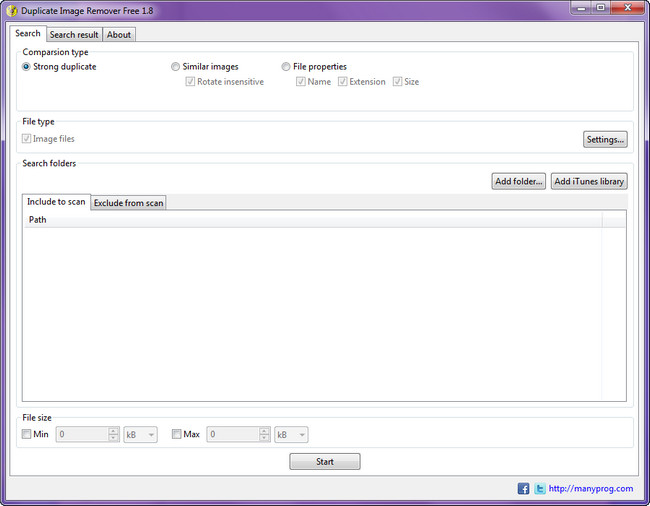 Manyprog Duplicate (Image Music Office File Video ITunes) Remover Free 1.8 + (Portable)