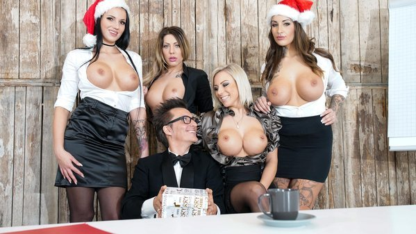 BumsBuero: German babes Jolee Love & Lilli Vanilli in Christmas group sex affair Pt.1