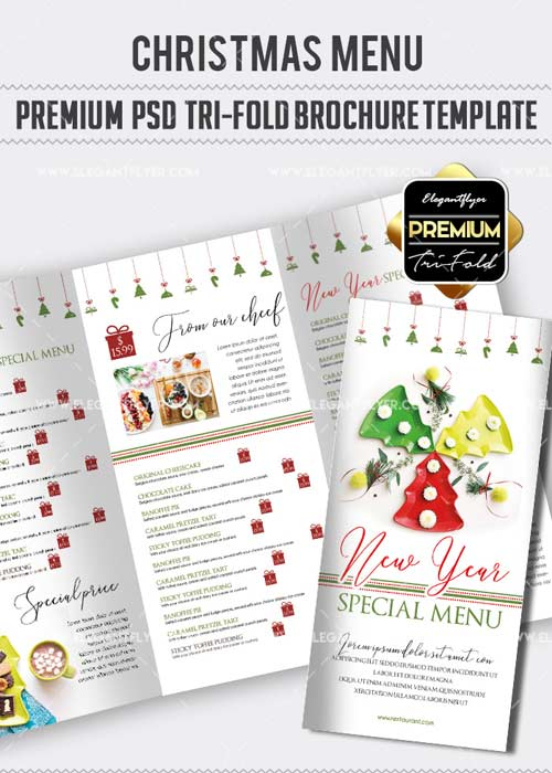 2 fold brochure template psd - download christmas menu v27 premium tri fold psd brochure