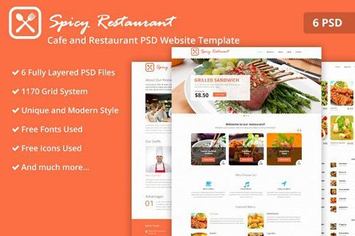 Cafe and Restaurant PSD Template - CM 2164145