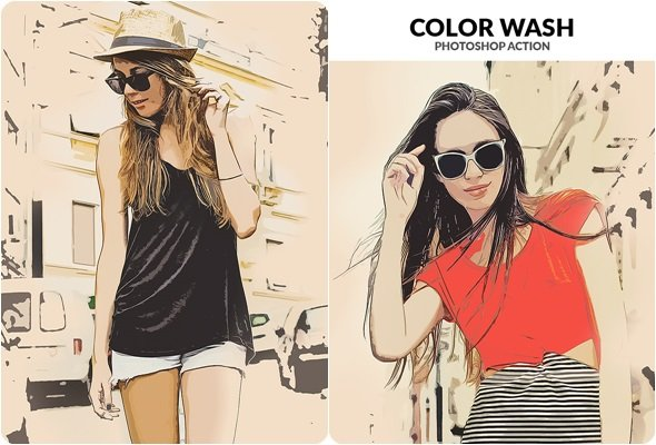 Color Wash Photoshop Action 21243811