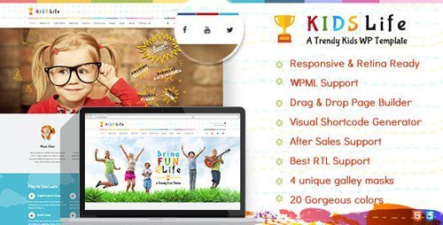 ThemeForest - Kids Life v1.8 - Children WordPress Theme - 10068328