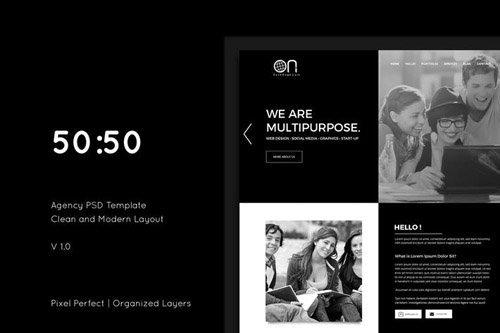 50-50 Creative Agency PSD Template