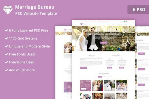 Marriage Bureau PSD Website Template - CM 2165735
