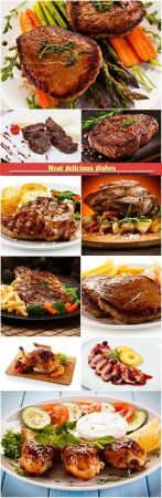 Meat delicious dishes served with french fries and vegetables