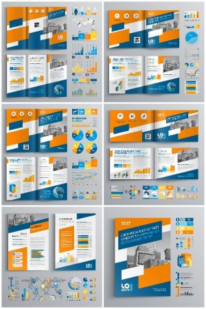 Brochure Template Design and Business Infographic vector 6