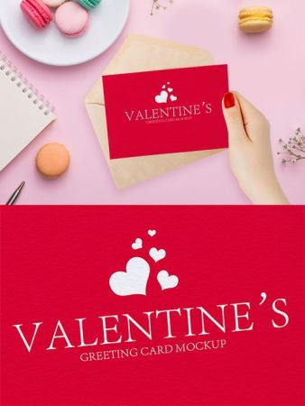 PSD Mock-Up - Valentines Greeting Card in Girl Hand