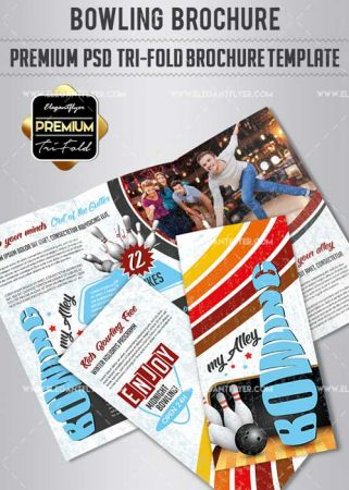 Bowling V1 2018 Premium Tri-Fold PSD Brochure Template