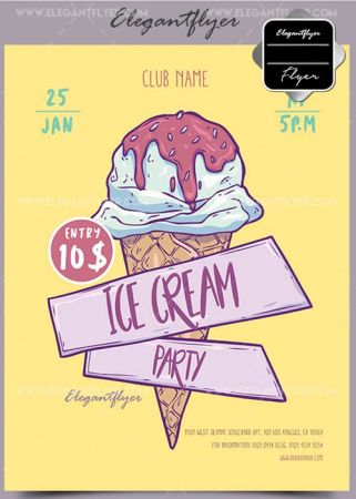 Ice Cream Party V1 2018 Flyer PSD Template + Facebook Cover