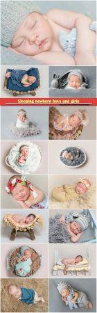 Sleeping newborn boys and girls