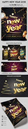 HNY 2018 Flyer PSD Template (+ Facebook Cover)