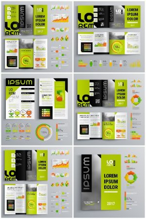 Brochure Template Design and Business Infographic vector 7