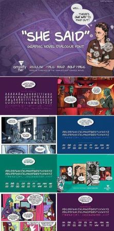 """She said"" Comic dialogue font set 2122069"