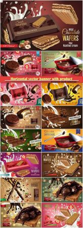 Horizontal vector banner with product, milk wafers with cream, milk chocolate with bittersweet and strawberry souffle