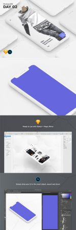 Mockups365 Day 2 - iPhone X clay isometric mockups for Sketch & Photoshop